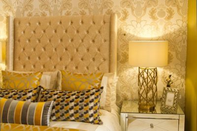 Wing Back Headboard with specially imported mirror pedestal